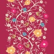 Painterly blossoming tree vertical seamless pattern background - Stock Vector