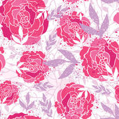 Magical painted roses seamless pattern background — Stockvector