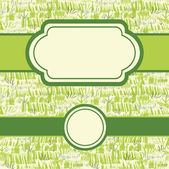 Set of frames with painting of green grass seamless pattern — Stock Vector