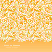 Golden lace roses horizontal seamless pattern background — Stock Vector