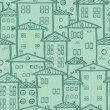 Doodle town houses seamless pattern background — Stock Vector
