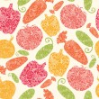 Textured vegetables seamless pattern background - Stock Vector