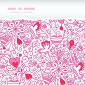 Love garden horizontal torn paper pattern background — Stock Vector