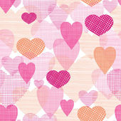 Textured fabric hearts seamless pattern background — Stock Vector