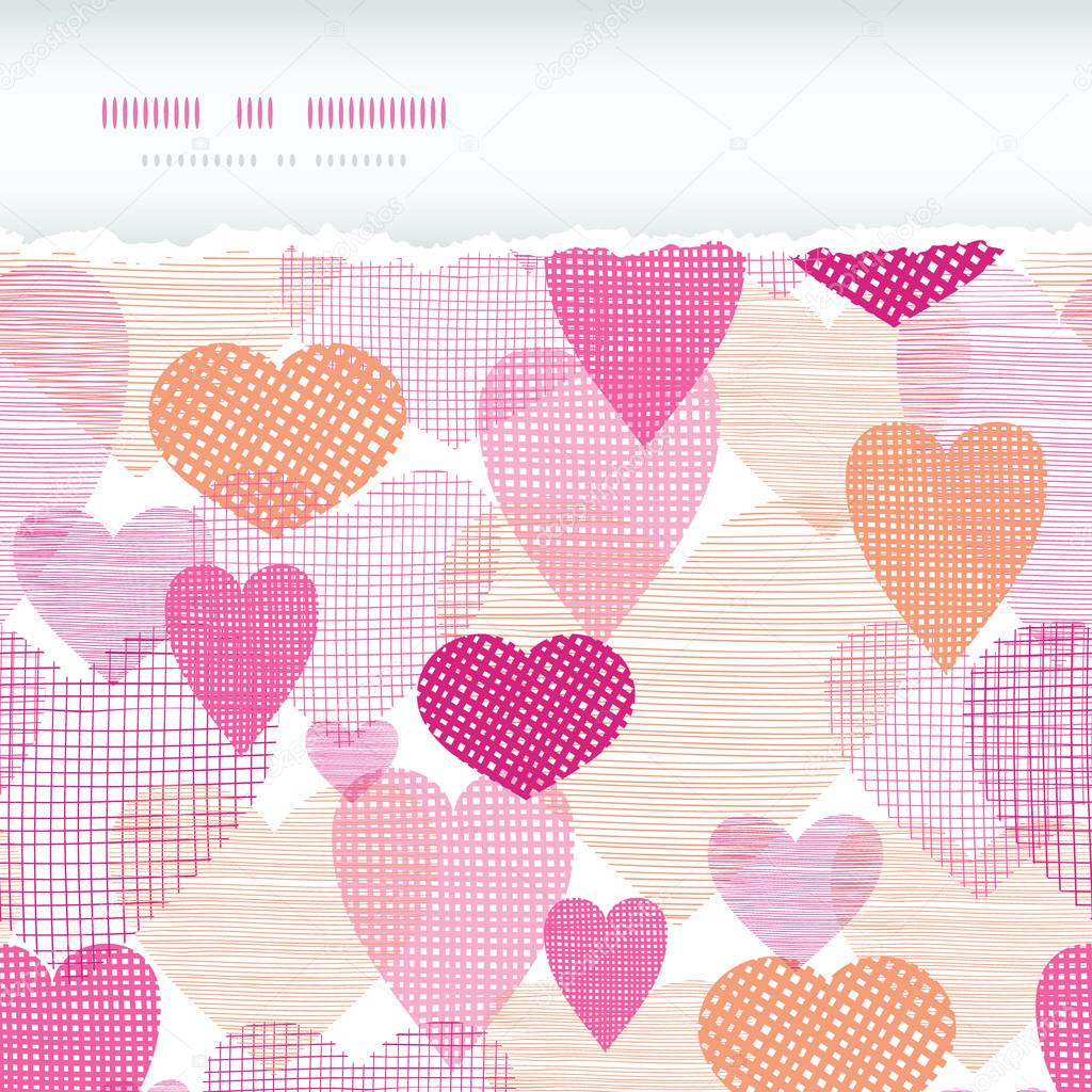 Vector textured fabric hearts torn horizontal seamless background border with hand drawn elements. — Stock Vector #19767529