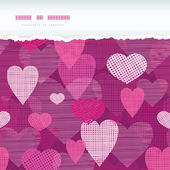 Fabric hearts romantic torn horizontal seamless background — Wektor stockowy