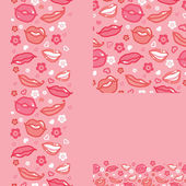 Lips set of seamless pattern backgrounds and borders — Stock Vector