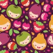 Happy fruit characters seamless pattern — Stock Vector
