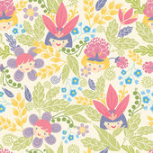 Flower girls seamless pattern background — Stock Vector