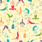 Workout fitness girls seamless pattern background — Stok Vektör