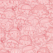 Girls in the crowd seamless pattern background — Stock Vector
