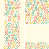 Doodle happy children seamless pattern background — ストックベクタ