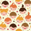 Smiling children seamless pattern background — Stock Vector
