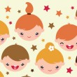 Smiling children horizontal seamless pattern background — Stock Vector