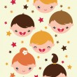 Smiling children vertical seamless pattern background — Stock Vector