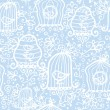 Drawing of birds in cages seamless pattern background - Grafika wektorowa