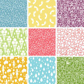Set of nine kiddie things seamless patterns backgrounds — Stock Vector
