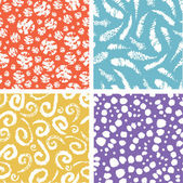 Verf textuur elementen kleurrijke naadloze patroon set — Stockvector