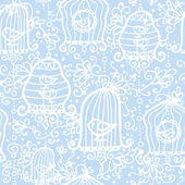 Drawing of birds in cages seamless pattern background — Stock Vector