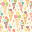Ice cream cones seamless pattern background — Stock Vector