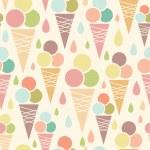 Ice cream cones seamless pattern background — Stock Vector