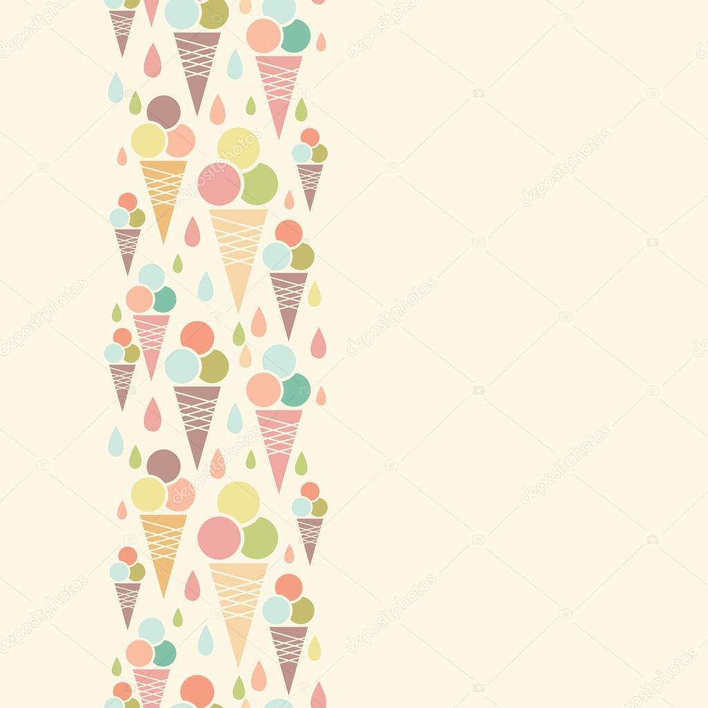 Vector ice cream cones Vertical Ice Cream Border
