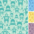 Cute cartoon robots seamless pattern background - Stock Vector