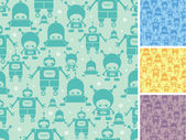 Cute cartoon robots seamless pattern background — Stock Vector