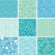 Nine baby boy blue seamless patterns backgrounds collection — Vector de stock