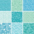 Nine baby boy blue seamless patterns backgrounds collection — Stock vektor