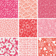 Nine baby girl pink seamless patterns backgrounds collection - 