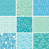 Nine baby boy blue seamless patterns backgrounds collection — Stock Vector