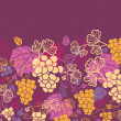 Sweet grape vines horizontal seamless background border raster — Stock Photo