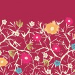 Painterly blossoming tree horizontal seamless background raster — Stock Photo