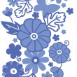Delft blue Dutch flowers vertical seamless pattern border raster — Stock Photo