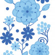 Delft blue Holland flowers vertical seamless pattern border raster — Stock Photo #21085541
