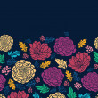 Colorful vibrant flowers on dark horizontal seamless pattern raster — Stock Photo