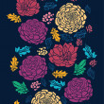 Colorful vibrant flowers on dark vertical seamless pattern raster — Stock Photo #21085623