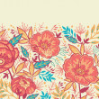 Colorful vibrant flowers horizontal seamless pattern border raster — Stock Photo