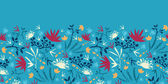 Painted abstract flowers and plants horizontal seamless pattern raster — Stock Photo
