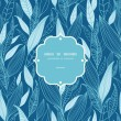Blue Bamboo Leaves Frame Seamless Pattern Background - Stock Vector