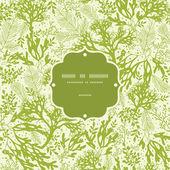 Green underwater seaweed frame seamless pattern background — Stock Vector