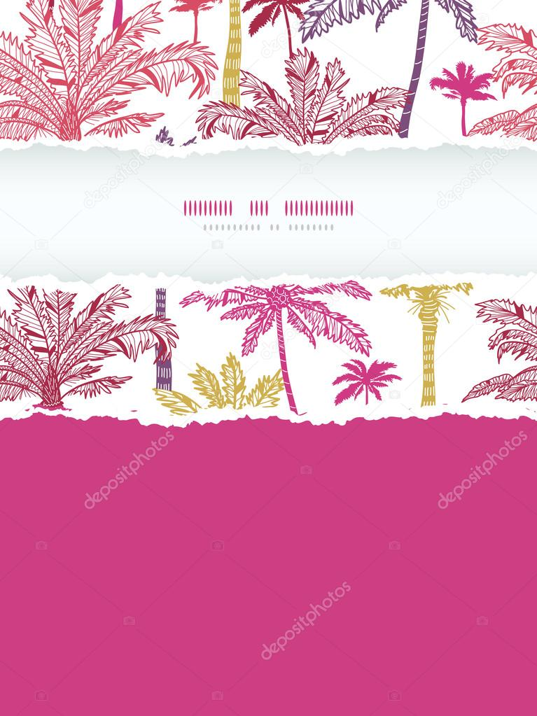 Palm Trees Background Vertical Vector Palm Trees Seamless Vertical Torn Frame Pattern Background With Hand