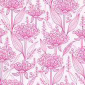 Pink lillies lineart seamless pattern background — Stock Vector