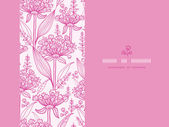 Pink lillies lineart horizontal seamless pattern background — Stock Vector