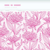 Pink lillies lineart horizontal torn seamless pattern background — Stock Vector