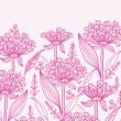 Pink lillies lineart horizontal border seamless pattern background - Stock Vector