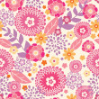 Warm summer plants seamless pattern background - Imagen vectorial