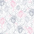 Gray and pink lily lineart seamless pattern background — Stock Vector