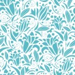 Blue lily silhouettes seamless pattern background — Stock Vector